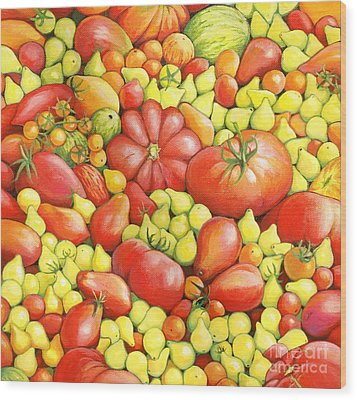 Love Apples ... Heirloom Tomatoes Wood Print by Susan A Walton