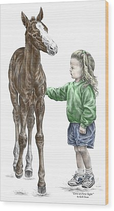 Love At First Sight - Girl And Horse Print Color Tinted Wood Print by Kelli Swan