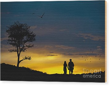Love Couple Silhouette At Sunset Wood Print by Andre Babiak
