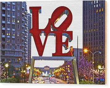 Wood Print featuring the photograph Love In Philadelphia by Alice Gipson