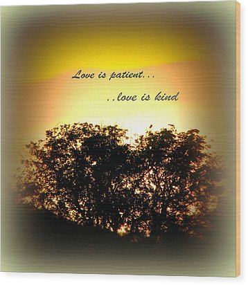 Love Is Patient   Wood Print by Michelle Frizzell-Thompson
