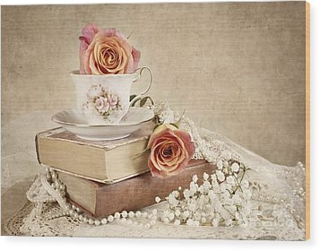 Wood Print featuring the photograph Love Of Vintage Books by Cheryl Davis