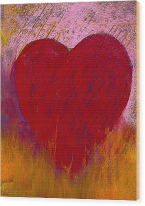 Love On Fire Wood Print by David Patterson