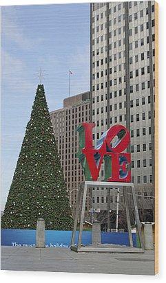 Love Park Philadelphia - Winter Wood Print by Brendan Reals