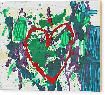 Wood Print featuring the painting Love Survives A Trashy Time by Sharon Mick