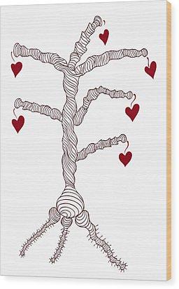 Love Tree Wood Print by Frank Tschakert