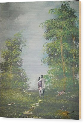 Love Walk In The Woods Wood Print by Raymond Doward