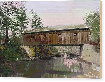 Lovejoy Covered Bridge Wood Print by Charles Shoup