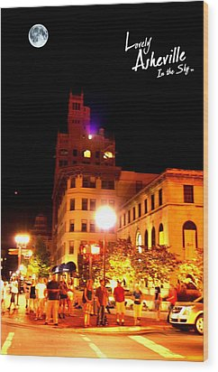 Lovely Asheville Night Downtown Wood Print by Ray Mapp