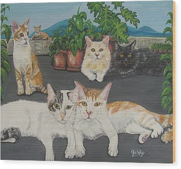 Lovely Cats Wood Print by Paintings by Gretzky