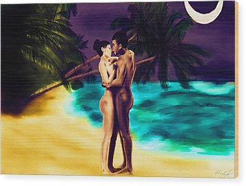 Lovers Under The Stars Wood Print by Kenal Louis
