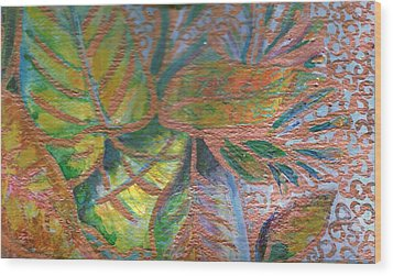 Loving Leaves  Wood Print by Anne-Elizabeth Whiteway