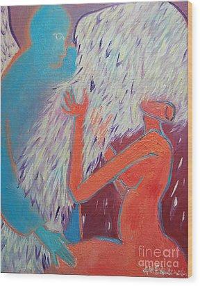 Loving My Angel Wood Print by Ana Maria Edulescu