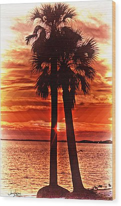 Loving Palms-the Journey Wood Print by Janie Johnson