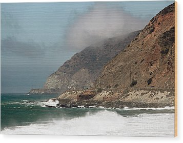 Low Clouds On The Pacific Coast Highway Wood Print by John Rizzuto