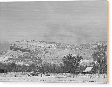 Low Winter Storm Clouds Colorado Rocky Mountain Foothills 7 Bw Wood Print by James BO  Insogna