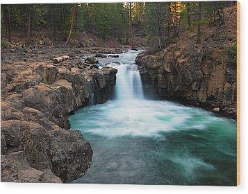 Lower Falls At Sunset Wood Print