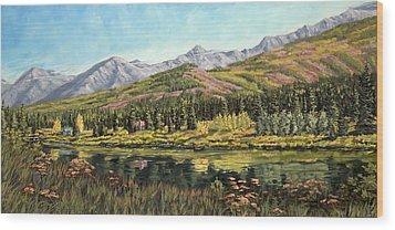 Lower Summit Lake Wood Print by Kurt Jacobson