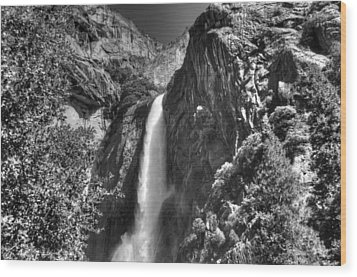 Lower Yosemite Falls Bw Wood Print by Bruce Friedman