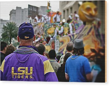 Wood Print featuring the photograph Lsu Mardi Gras  by Jim Albritton