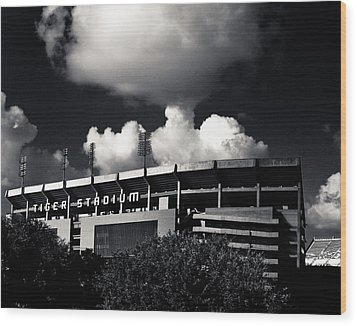 Lsu Tiger Stadium Black And White Wood Print by Maggy Marsh
