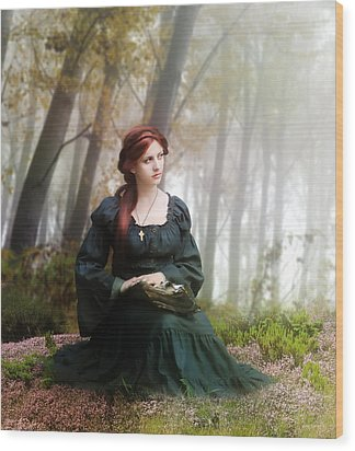 Lucid Contemplation Wood Print by Mary Hood