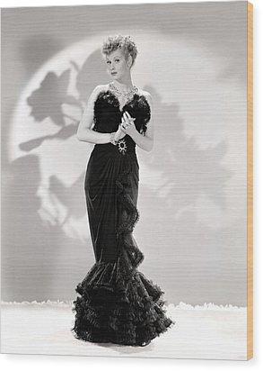 Lucille Ball Models A Lovely Black Wood Print by Everett