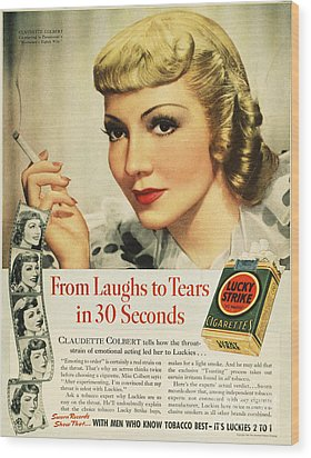 Luckys Cigarette Ad, 1938 Wood Print by Granger