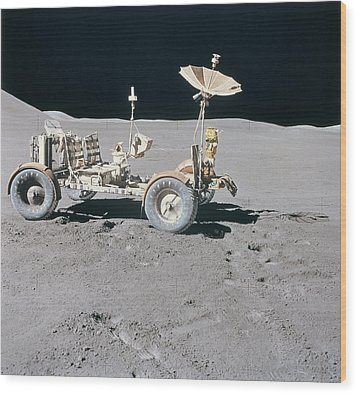 Lunar Vehicle On The Surface Of The Moon Wood Print by Stockbyte