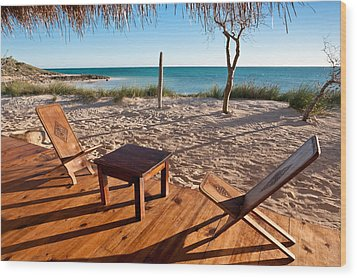 Luxurious Terrace On The Beach Wood Print by Pierre-Yves Babelon