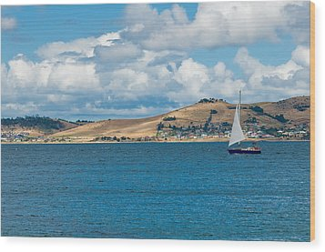 Luxury Yacht Sails In Blue Waters Along A Summer Coast Line Wood Print by U Schade