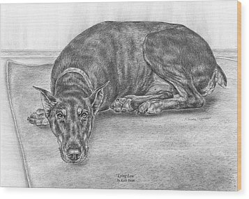 Lying Low - Doberman Pinscher Dog Art Print Wood Print by Kelli Swan