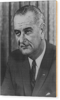Wood Print featuring the photograph Lyndon B Johnson by International  Images