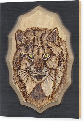 Lynx Wood Print by Clarence Butch Martin