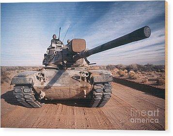 M-60 Battle Tank In Motion Wood Print by Stocktrek Images