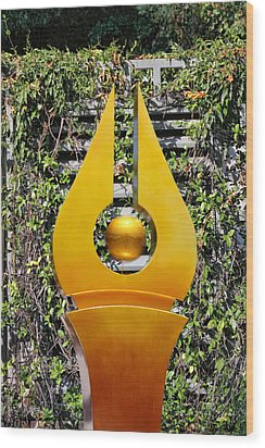 Mable Falls Golden Sculpture Wood Print by Linda Phelps