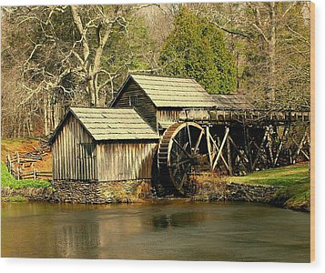 Wood Print featuring the photograph Mabry Mill In Winter by Myrna Bradshaw
