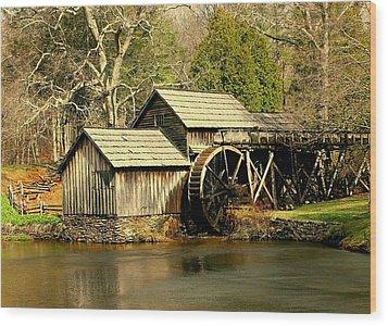 Mabry Mill In Winter Wood Print by Myrna Bradshaw