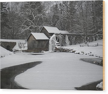 Mabry Mill On Ice Wood Print by Diannah Lynch