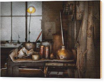 Machinist - Tool - Got Oil  Wood Print by Mike Savad