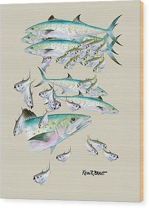 Mackerel Montage Wood Print by Kevin Brant