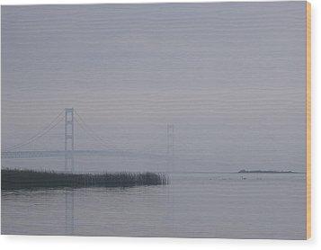 Mackinac Bridge And Swans Wood Print by Randy Pollard