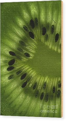 Macro Kiwi Slice Wood Print by Janeen Wassink Searles