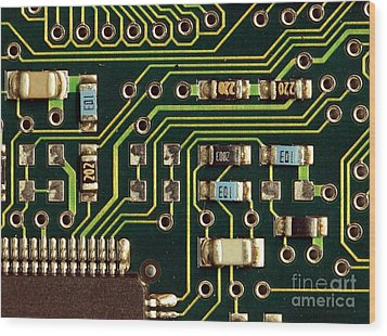 Macro View Of A Computer Motherboard Wood Print by Yali Shi