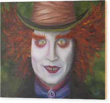 Mad As A Hatter Wood Print by Thea Wolff