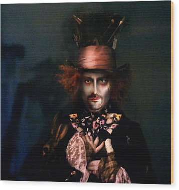 Mad Hatter Wood Print by Alessandro Della Pietra