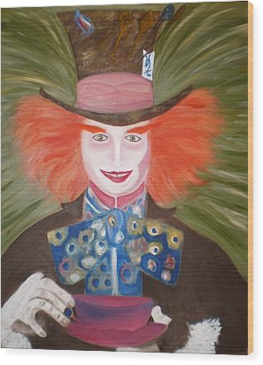 Mad Hatter  Wood Print by Shannon Schow