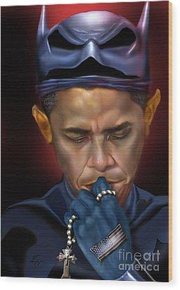 Mad Men Series 1 Of 6 - President Obama The Dark Knight Wood Print by Reggie Duffie