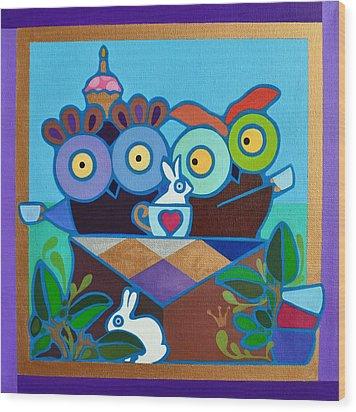 Mad Owl Tea Wood Print by Jenny Valdez