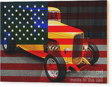 Made In The Usa . 1932 Ford 5 Window Coupe Wood Print by Wingsdomain Art and Photography